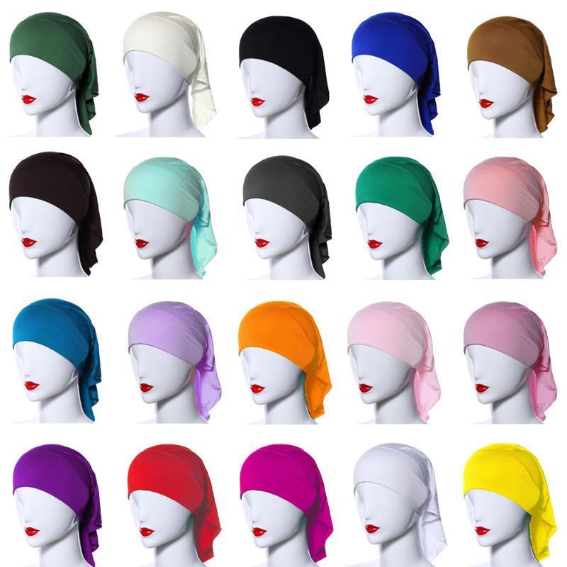 라마단 여성에서 스카프 보닛 내부 캡 뼈 이슬람 헤드 커버 비니 랩 모자 단색 모자 아랍 튜브 Underscarf