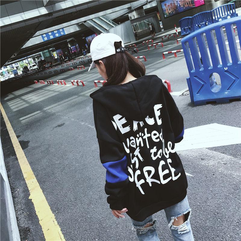 harajuku más tamaño sudaderas con capucha de las mujeres de gran tamaño caliente de la manga ocasional de la camiseta larga suelta encabeza la ropa Ropa de abrigo negro streetwear 201019