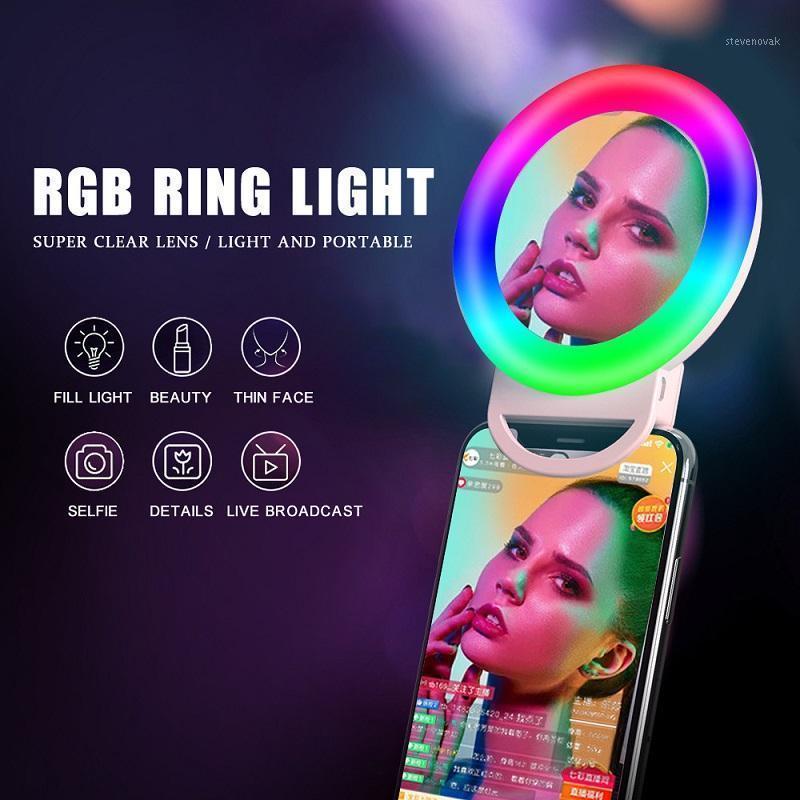 RGB Selfie LED Ring Lichtkreis Mini Handy Licht Lampe Desktop Bunte Make-up Spiegel Licht Clip-on1
