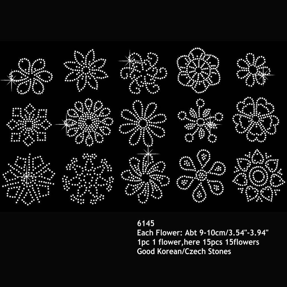 Kinds Of Small Flowers Rhinestone Iron On Heat Transfers Hofix Motif Small Flower Design 60pcs/lot