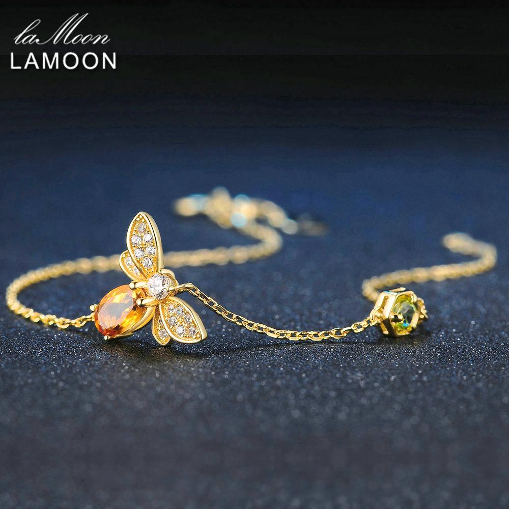 Lamoon linda abeja 925 pulsera de plata esterlina mujer amor citrino gemas joyería 14k oro plateado diseño joyería lmhi002 cx200612