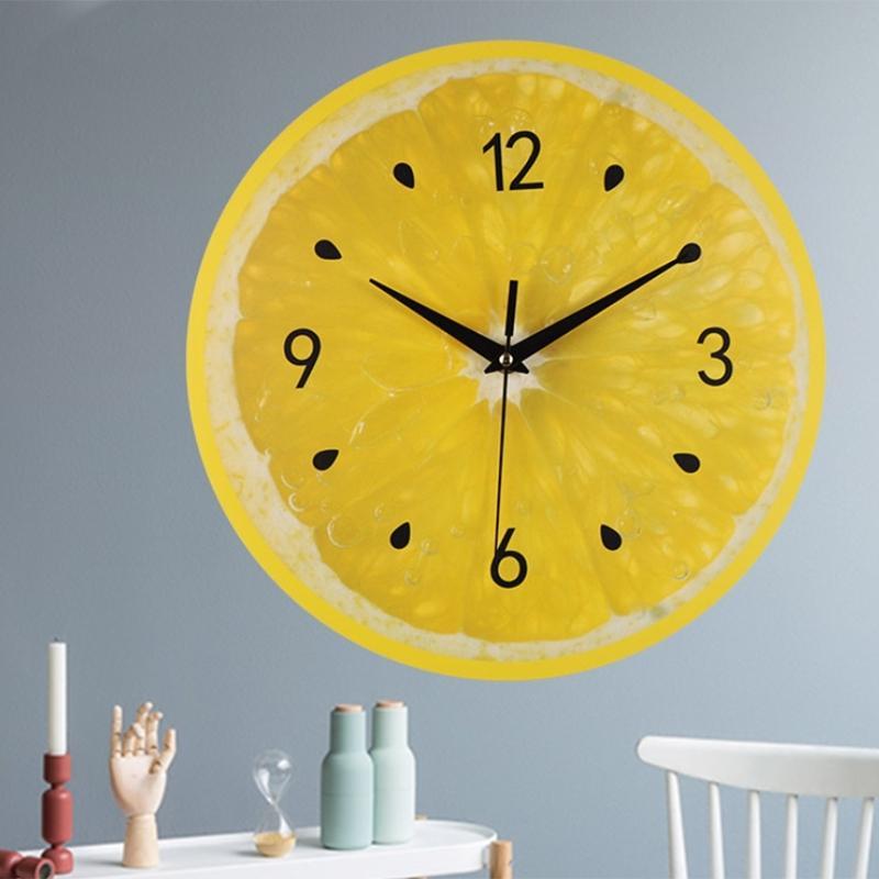 Fruit Citron Citron vert Horloge murale moderne Cuisine Horloges Décoration d'intérieur Living Tropical Fruit Chambre Wall Art Clock 30cm