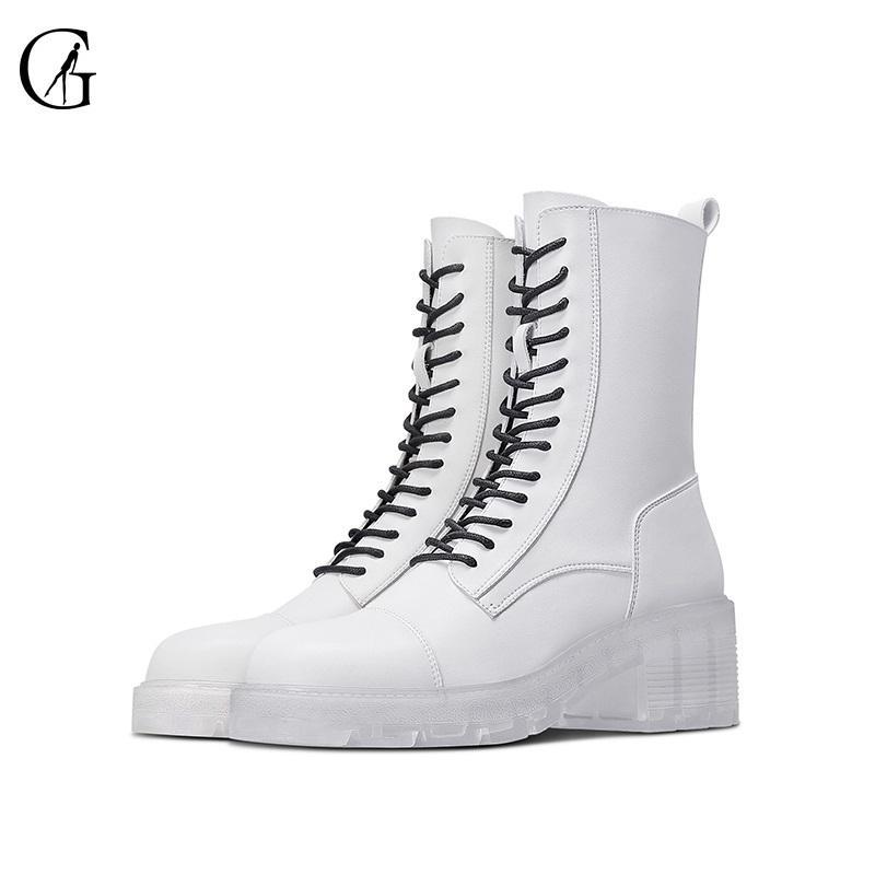 Goxeou женские ботильоны для голеностопных ботинок микроволокна матовый белый кристалл нижний 5 см передние кружева повседневная мода офисные женские туфли размер 34-40 201031