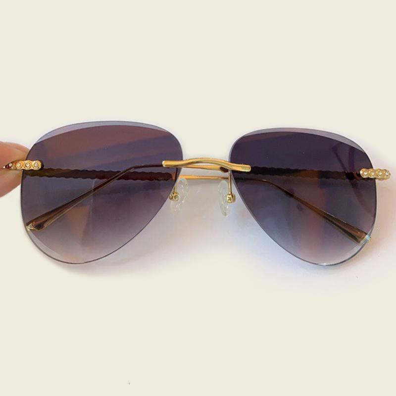 Luxury Trend occhiali da sole senza montatura delle donne 2020 Nuovo modo di disegno di vetro di Sun femminile Uv400 Rosa Eyewear Lentes De Sol Mujer