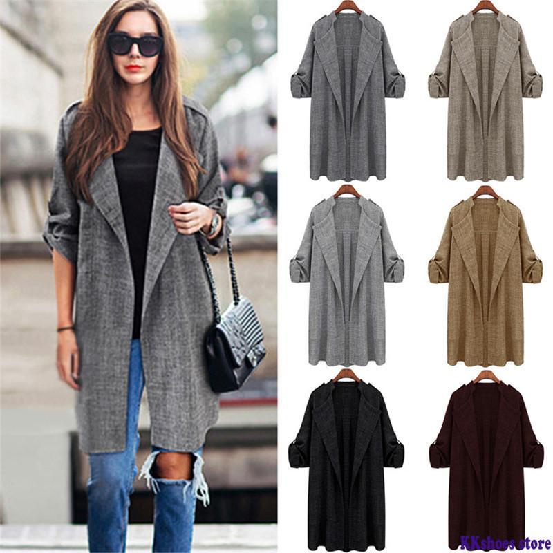 Slim Windbreaker 2020 Autumn Winter Casual Solid Women Coat Fashion Long Female Coats Large Size 5XL