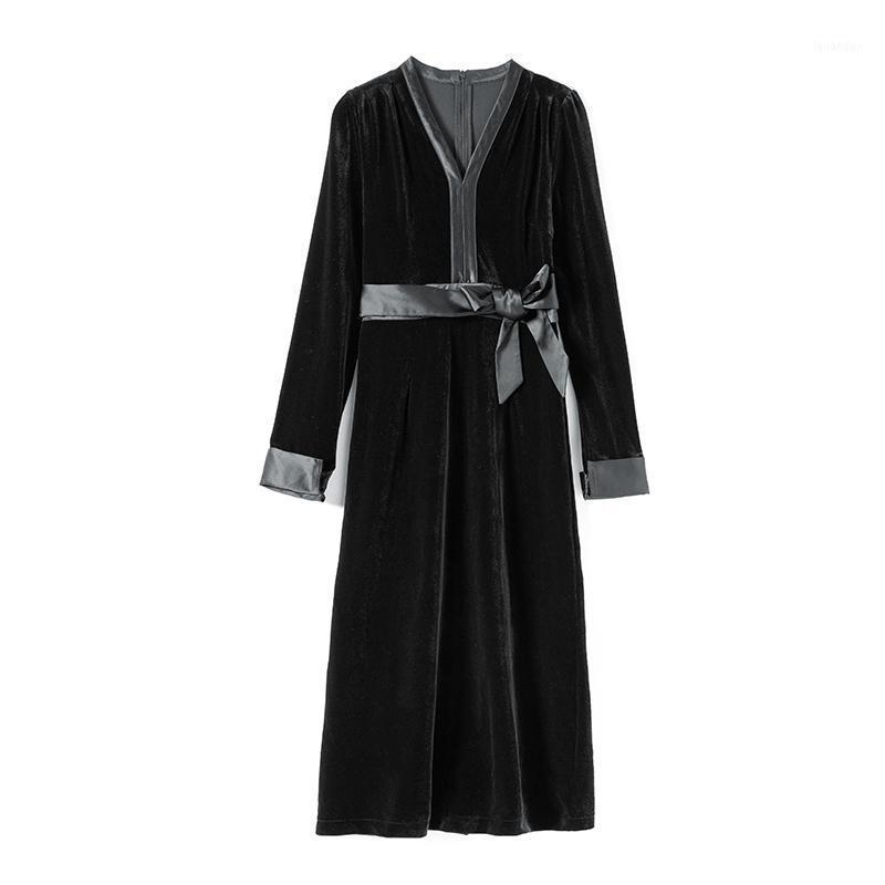 2021 Vestidos de primavera para mulheres vestido preto elegante frança estilo roupas mulheres vestido de veludo dourado vestido vestido tn18721