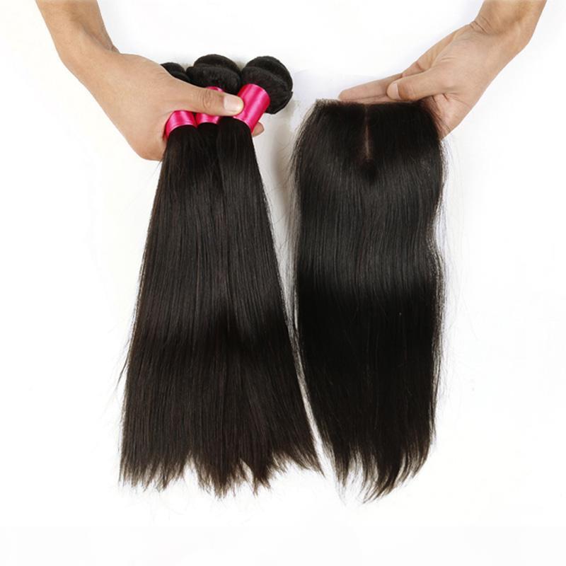 6A 3 adet Düz Atkı Saç Ile 1 Üst Dantel Kapatma Brezilyalı Işlenmemiş Düz Saç Demetleri Ile İpek Dantel Kapatma Ücretsiz Orta 3 Bölüm