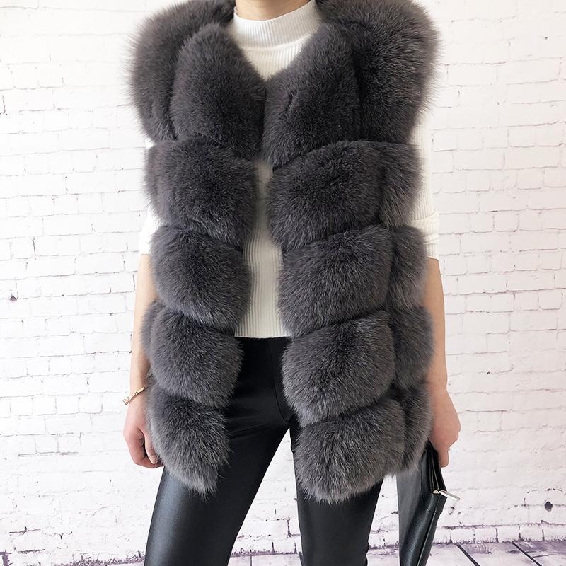 alta qualità della pelliccia di volpe delle donne gilet 100% giacca reale naturale della pelliccia del cappotto di pelliccia modo della maglia cappotto Genuine Leather 201015