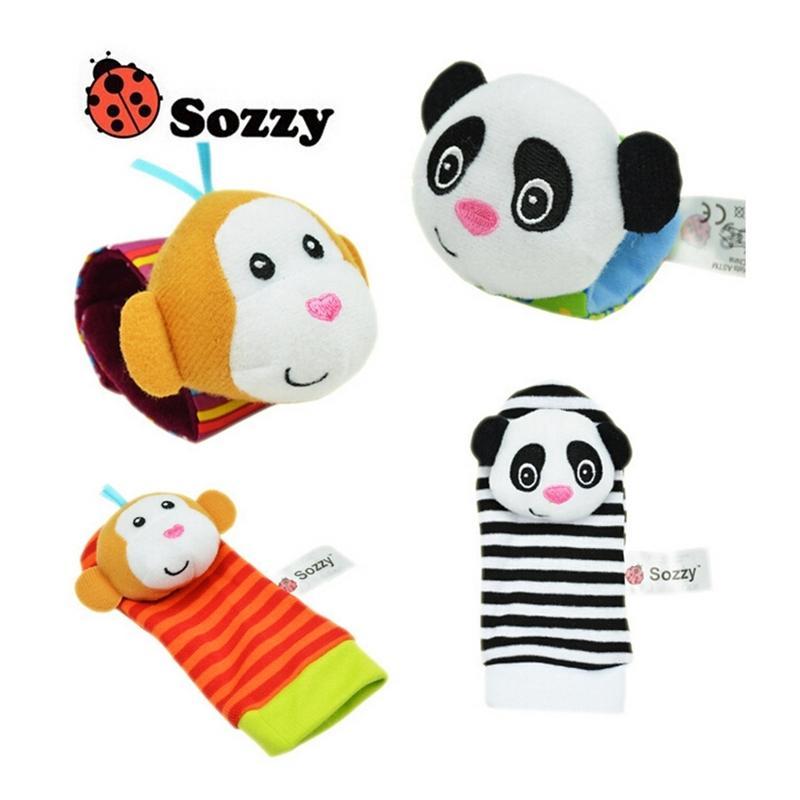 Toptan 40 adet / grup Bebek Oyuncakları Sozzy Bahçe Bug Bilek Çıngırak ve Ayak Çorap 4 Stil (2 Bel + 2 ADET Çorap) (10 Set) Y200111