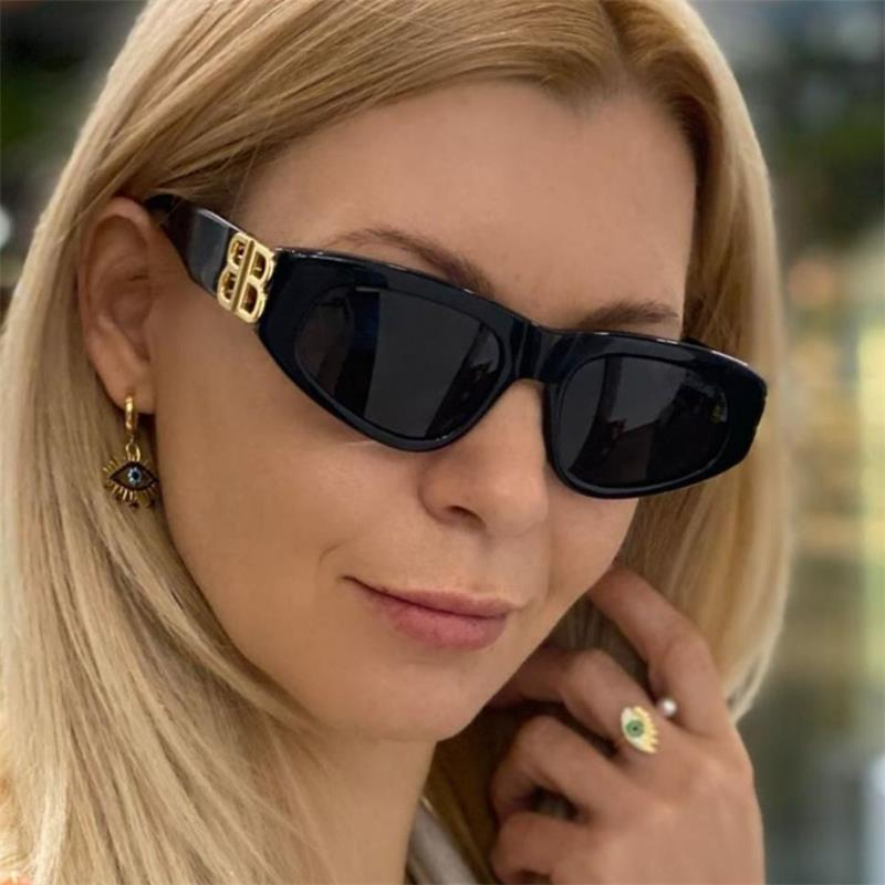 두꺼운 아세테이트 고양이 눈 선글라스 블랙 골드 문자 B 태양 안경 2021 새로운 럭셔리 디자이너 여자 음영 자외선 안경