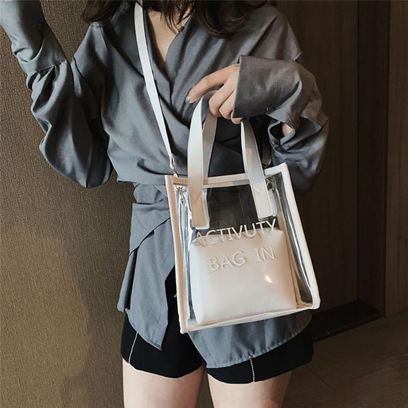 Женский кошелек прозрачный пластиковый прозрачный Tote Jelly плечо сумка сумка сцепление RFWRG