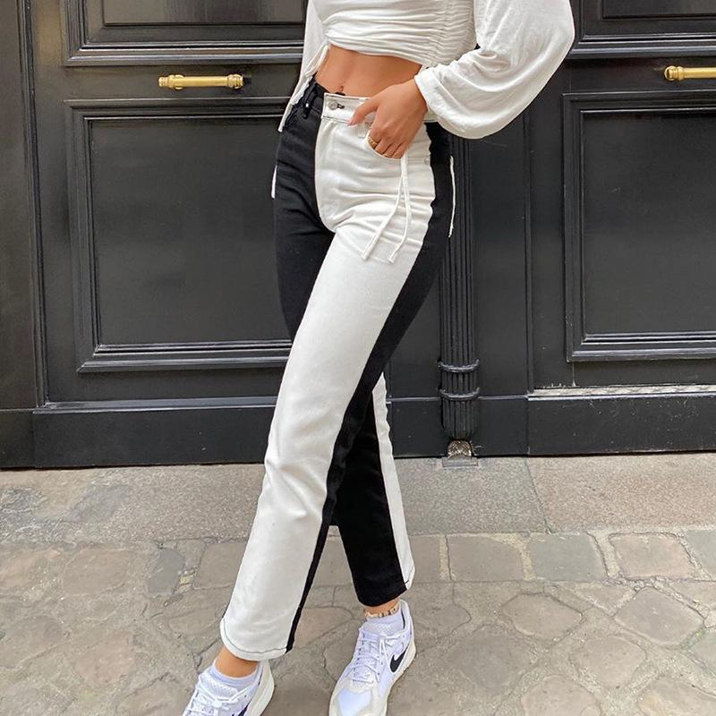 Donne Pantaloni Due jeans di colore della molla di modo di autunno a vita alta nero rappezzatura casuale del denim pantaloni diritti