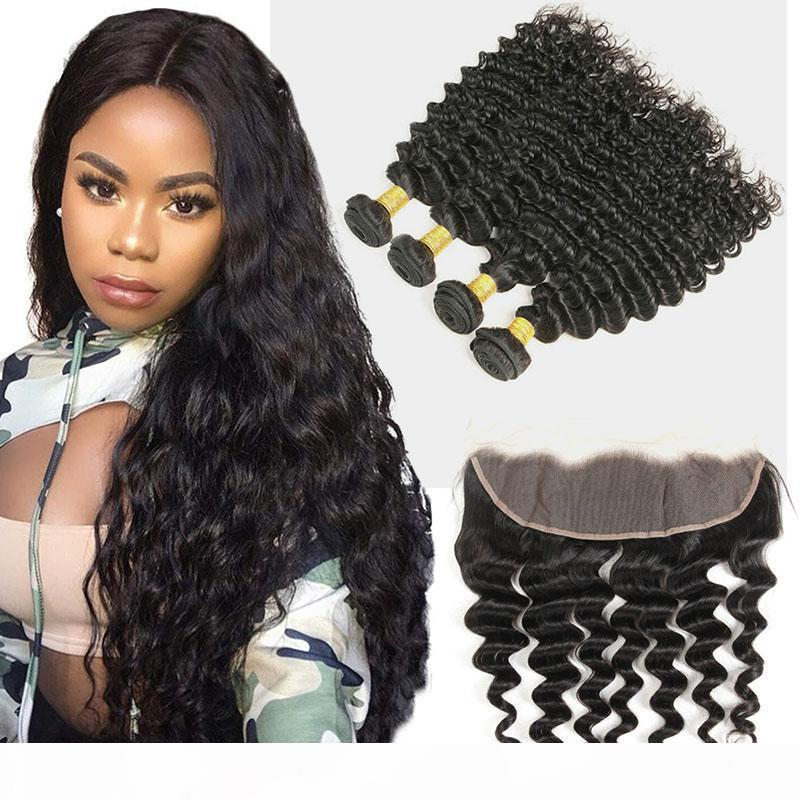 Peruvian Unprocessed Human Hair Deep Wave 3 Bundles With 13X4 Lace Frontal Ear To Ear Lace Frontal With Hair Extensions 8-30inch Deep Wave