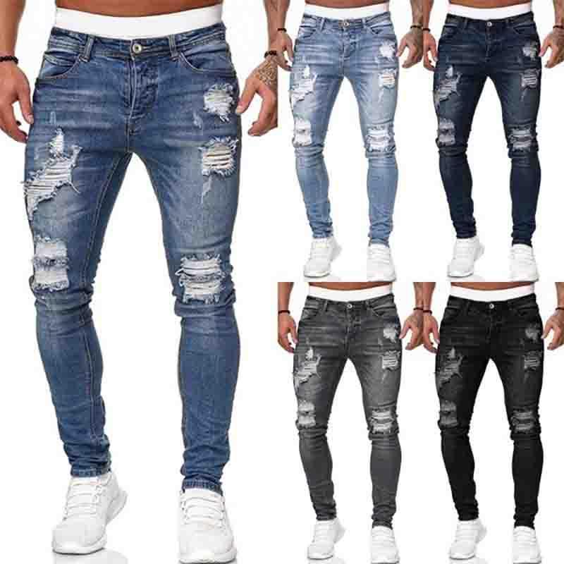 Hombre Jeans Fashion Hole Ripped Jeans Pantalones Pantalones Casuales Hombres Skinny Jean Alta Calidad Lavado Vintage Pantalones Lápiz 5 Colora Tamaño S-3XL