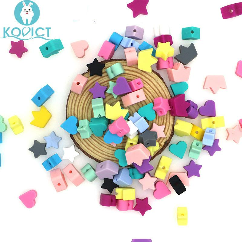 Kovict wholesale 100/200/500pcs Silicone Beads star heart crown DIY Teething Necklace Accessories Teething Pacifier 201124