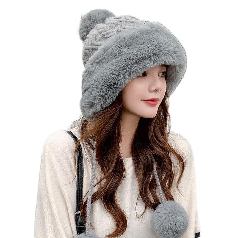 Sparsil Woman Autumn Winter Mink Knit Bomber Hat Thick Female Fluffy Pompom Outdoor Warm Windproof Earflap Trapper Snow Ski Caps 201013