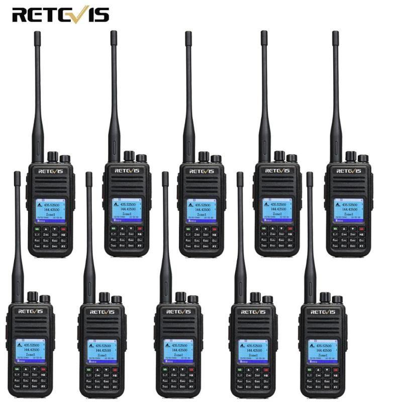 RETEVIS rT3S DMR Rádio Digital Walkie Talkie GPS Ham Radio Amador 5W DMR VHF UHF Dual Band 10PCS Compatível com Mototrbo / TYT