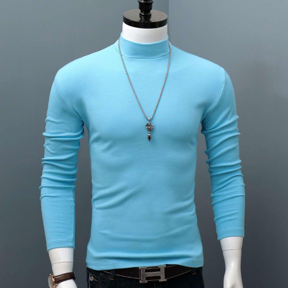 Camiseta para hombres de manga larga Algodón de algodón e invierno medio cuello alto color sólido delgado ajuste de tamaño grande con estilo de estilo extranjero coreano