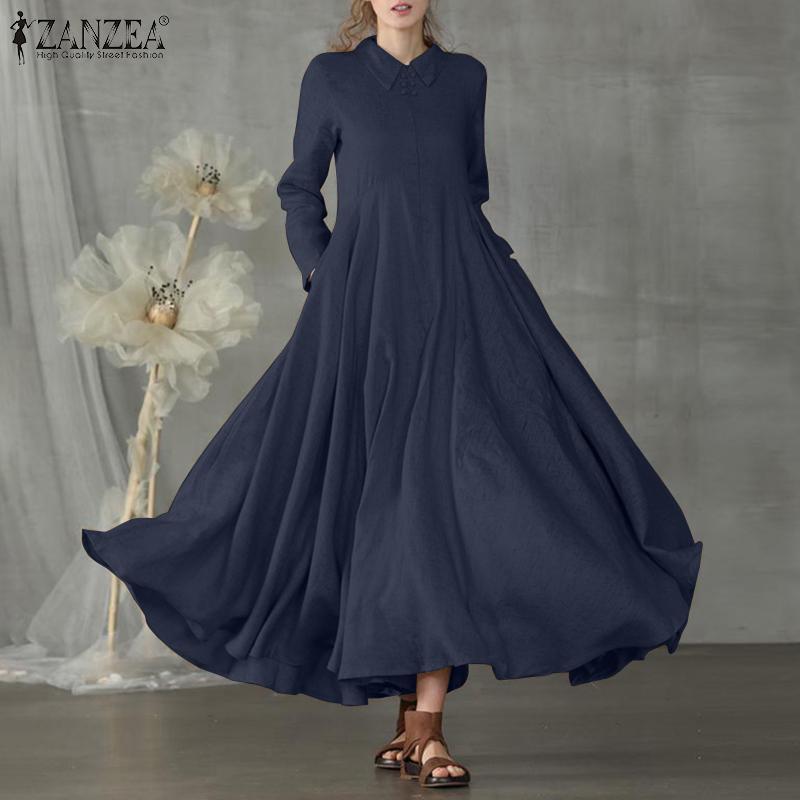 Zanzea kadınlar zarif parti elbise yaka fermuar uzun maxi sundress vintage pamuk vestidos uzun kollu yakalı katı elbiseler 5XL