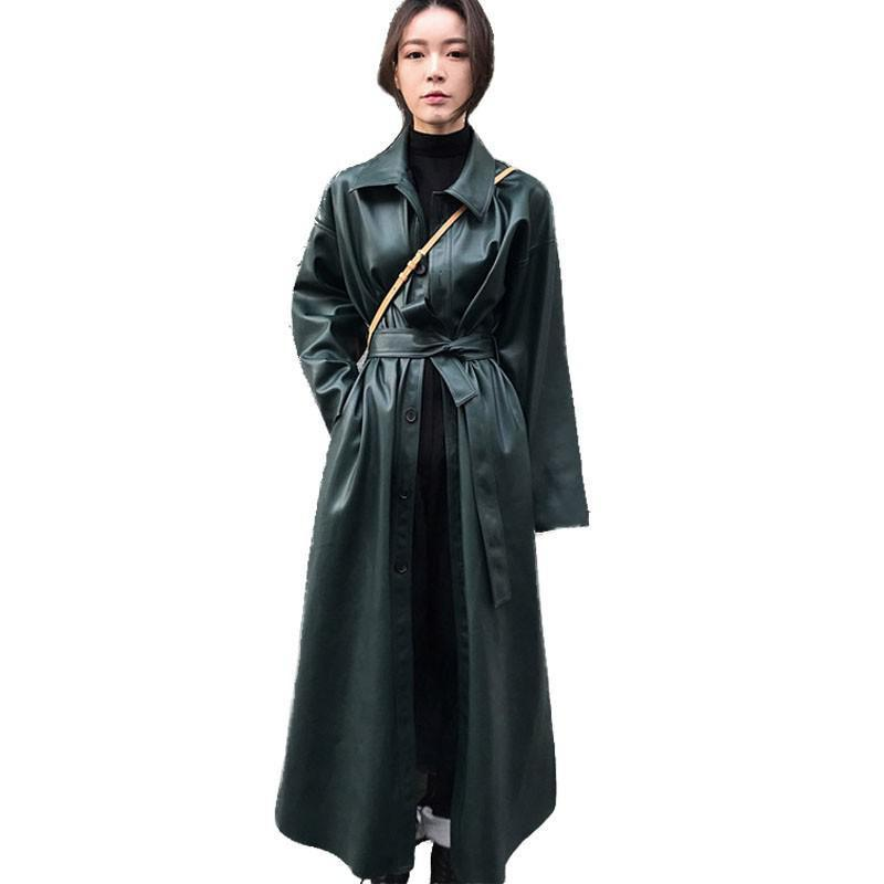 Womens Trench Coats PU Leather Windbreaker Single Breasted Lace Up Long Sleeve Long Coat Solid Split Coat Autumn Winter