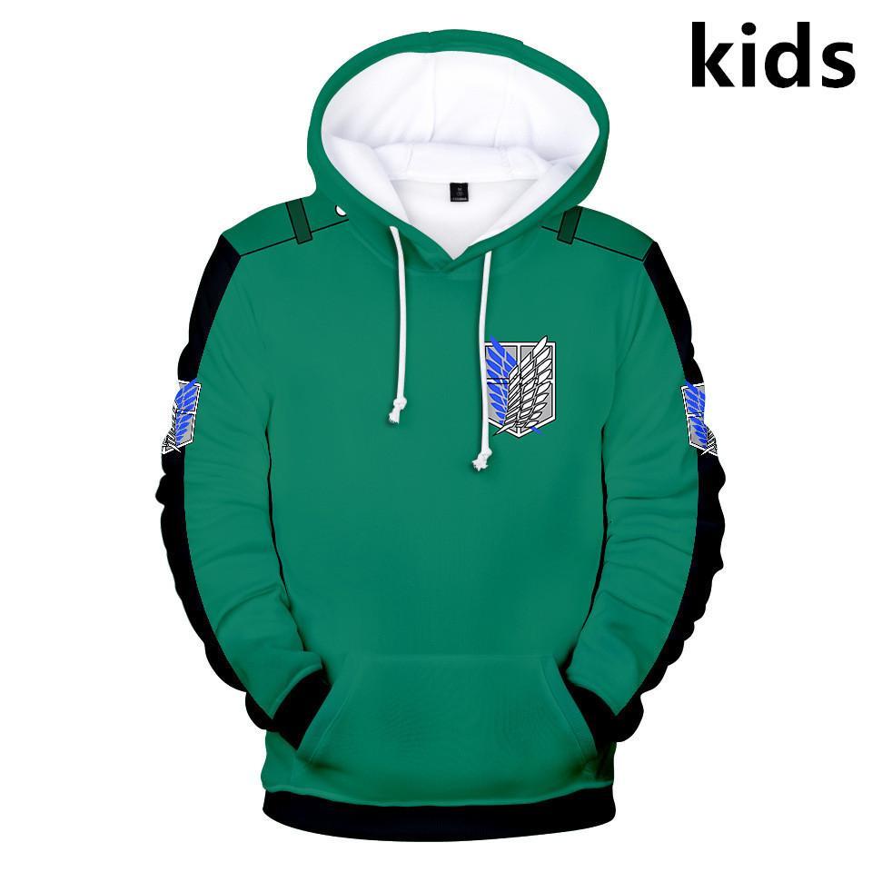2 à 14 ans Sweat à capuche pour enfants Attaque d'anime sur Titan Shingeki no Kyojin 3D Sweats à capuche Sweatshirt garçons filles veste manteau enfants vêtements x1227