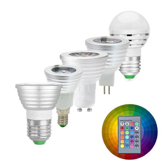 LED-Lampe RGB RGBW 3W E27 E14 GU10 MR16 Scheinwerfer Birne Silber Helligkeit Einstellbare Bombillas mit IR-Fernbedienung 16 Farben veränderbar