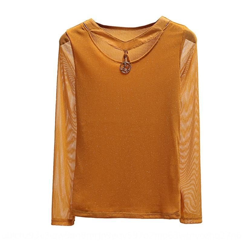 ajBYI nuova manica 2020 autunno delle donne T-shirt maglia della camicia Tshirtbottoming stile estera sottile lungo per le donne modo di stile YW4OK