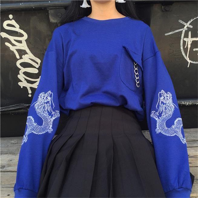 Femmes Printemps Harajuku dragon broderie coréenne Top Sweat à manches longues Bleu Noir Pull en vrac Casual Femme Survêtement