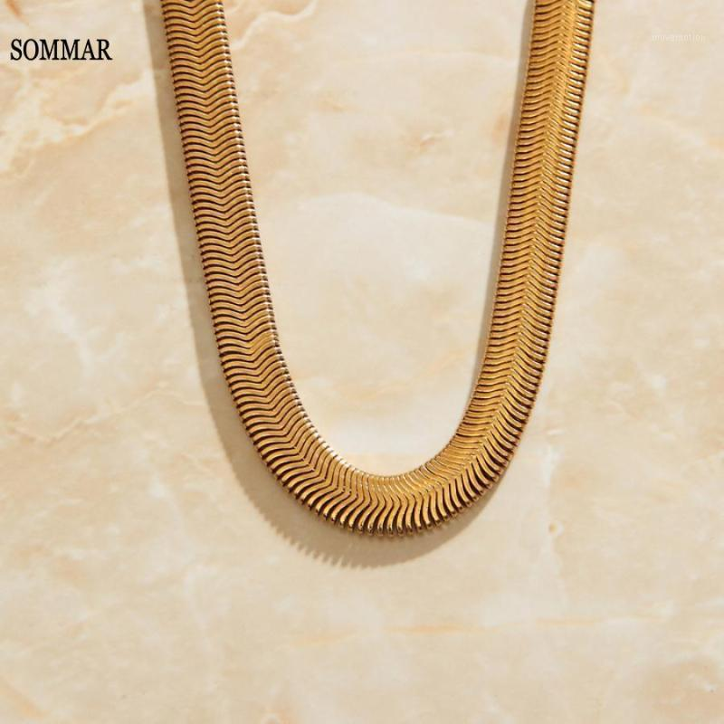 SOMMAR 18KGP Friends Choker Maxi Filled Necklace For Necklace Gold Simple Snake Chain Male Best Men Jewelry1 Nbqou