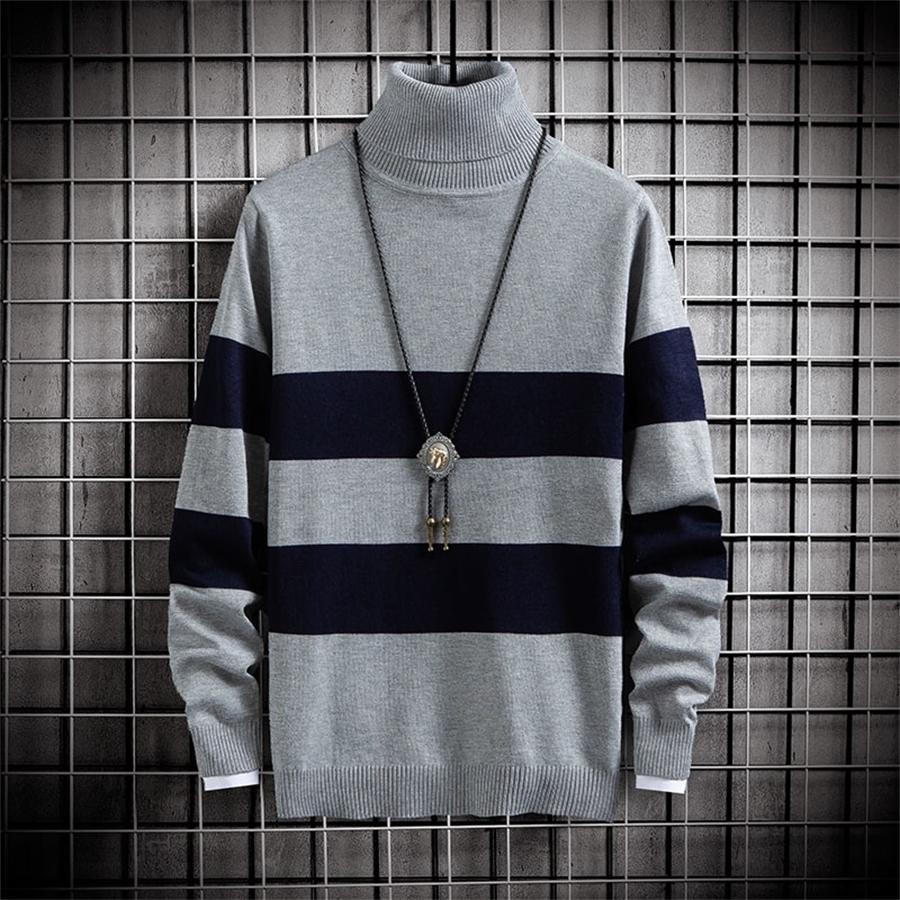 Случайные свитер мужчины водолазки осень зима тонкие свитера вязаные пуловеры мужская одежда теплый растягивающийся свитер Dropshipping 201118