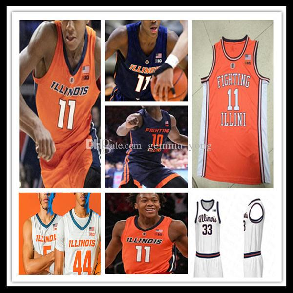 Illinois combattre Illini 2021 NCAA Basketball Jerseys personnalisé Trent Frazier Ayo Dosunmu Kofi Cockburn Adam Miller Andre Curbelo Williams 4XL