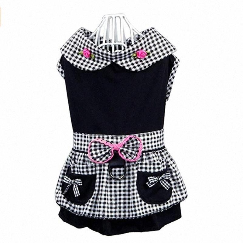 Платья собаки Черная клетчатая одежда для собаки встроенный жгут платье для собак мягкая роза bowknot y3o0 #