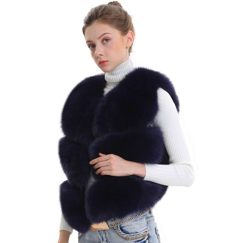 Kadınlar Gerçek Fox Kürk Yelek Kadın Kış Sonbahar Hakiki Fox Kürk Yelek Ceket Moda Lady Gile Kadınlar için Doğal Gerçek Kürk Yelek 201113