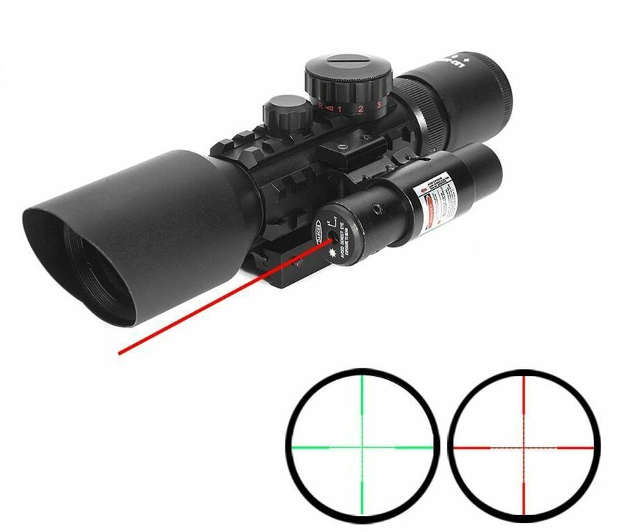 3-10x42EG نطاق الصيد التكتيكي البصريات رد الفعل البصر Riflescope Picatinny السكك يفر جبل الأحمر النقطة الخضراء مع أحمر ليزر بندقية نطاق