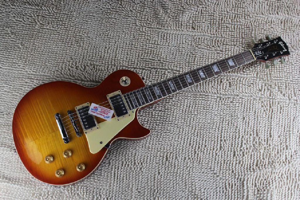 Kostenloser Versand 2014 Hohe Qualität Flamme Ahorn Top G Les Standard Braun LP Paul E-Gitarre