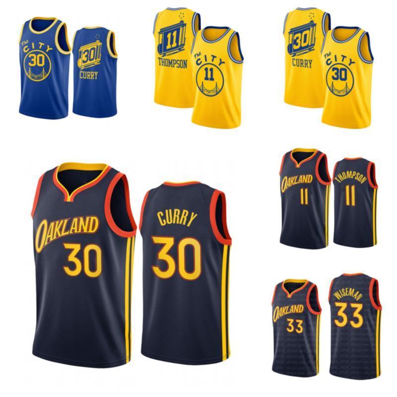 NCAA 2020 Stephen 30 Curry Jersey James 33 Wiseman Formaları 2021 Sezon Golden StateSavaşçılarJersey Klay 11 Draymond Thompson Yeşil