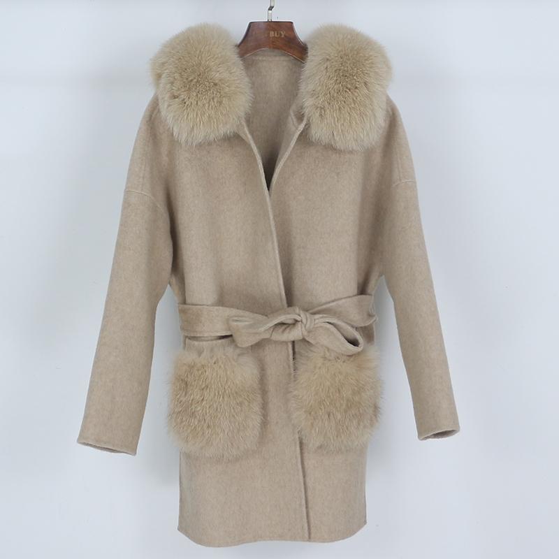 Muchas de lana de las mujeres OFTBUY 2021 Cashmere Real Piel Abrigo de la piel Invierno Chaqueta de invierno Cuello natural Bolsillo suelto ropa exterior Cinturón Streetwear