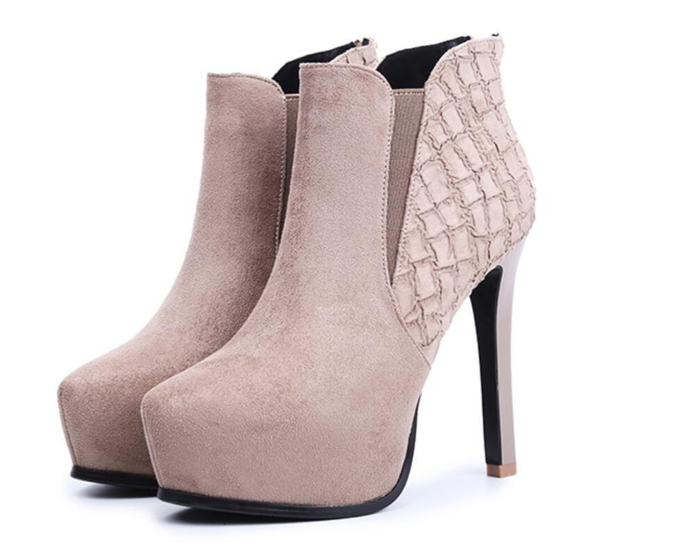 12cm pointed stiletto ankle boots waterproof platform high-heeled Martin autumn and winter6