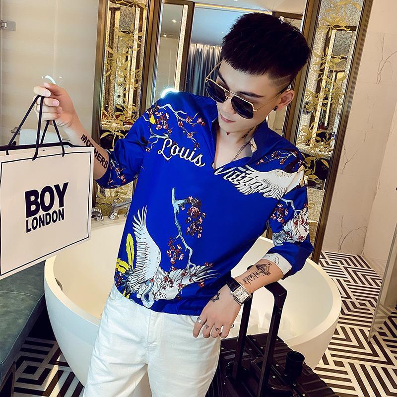 Китайский стиль крана печати мужские рубашки с коротким рукавом пуловер рубашка шелковый повседневная уличная одежда социальная блузка клуб вечеринка смокинг одежда J1216