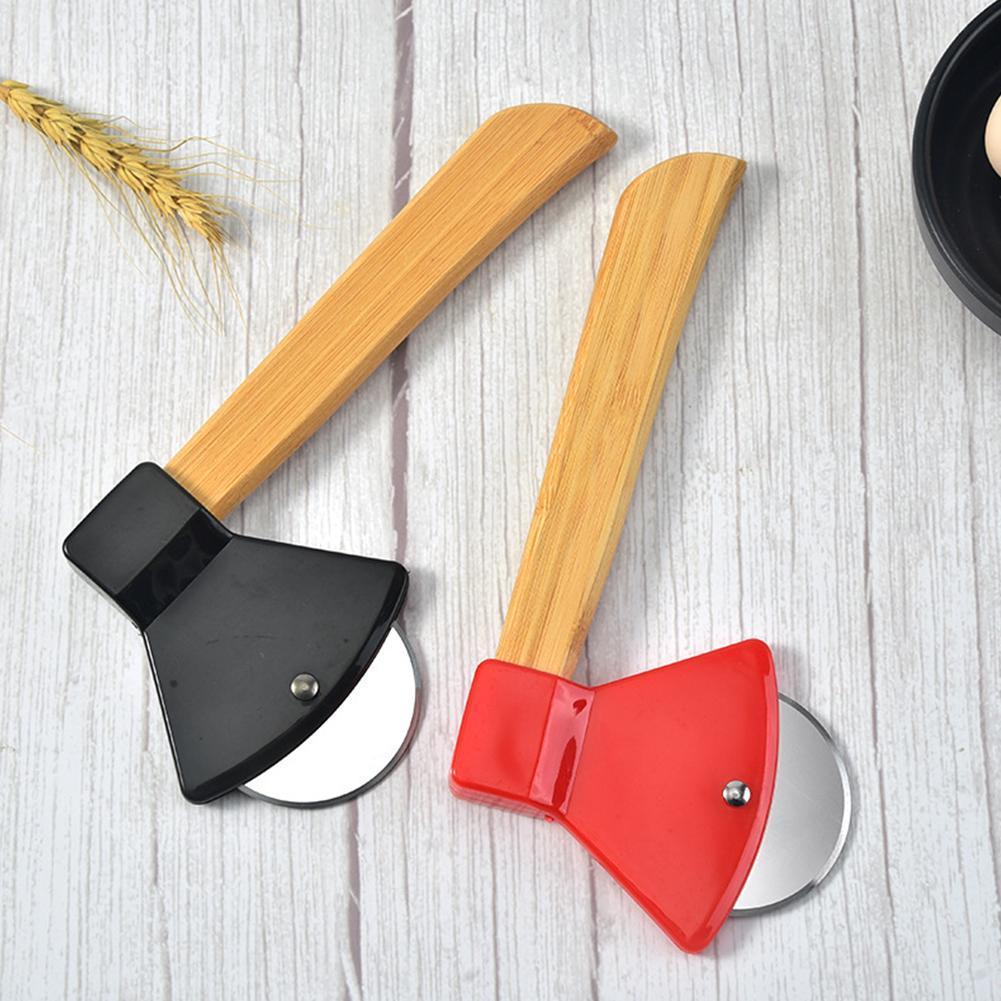 Machado bambu punho pizza cortador rotativo lâmina home cozinha ferramenta de corte