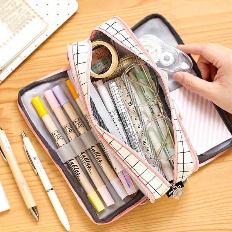 Création Grande Capacité Toile Caisse Crayon Simple Multifonctionnel School Student Stylo Box Box Poche Sacs Sacs Papeterie Fournitures