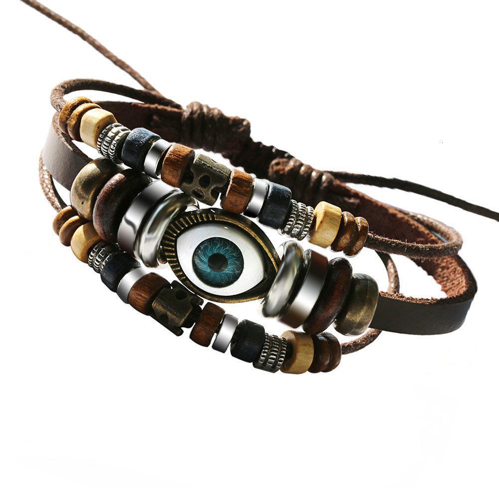 Заводская цена браслет старинные моды многослойные мужские кожаные плетеные ручной работы повезло веревочные веревки браслеты браслеты м