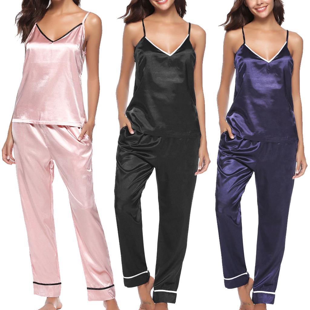 여성 섹시한 잠옷 실크 Pijamas Sleepwear Nightwear Deep V 슬링 세트 캐주얼 느슨한 편안한 여성 의상 의상