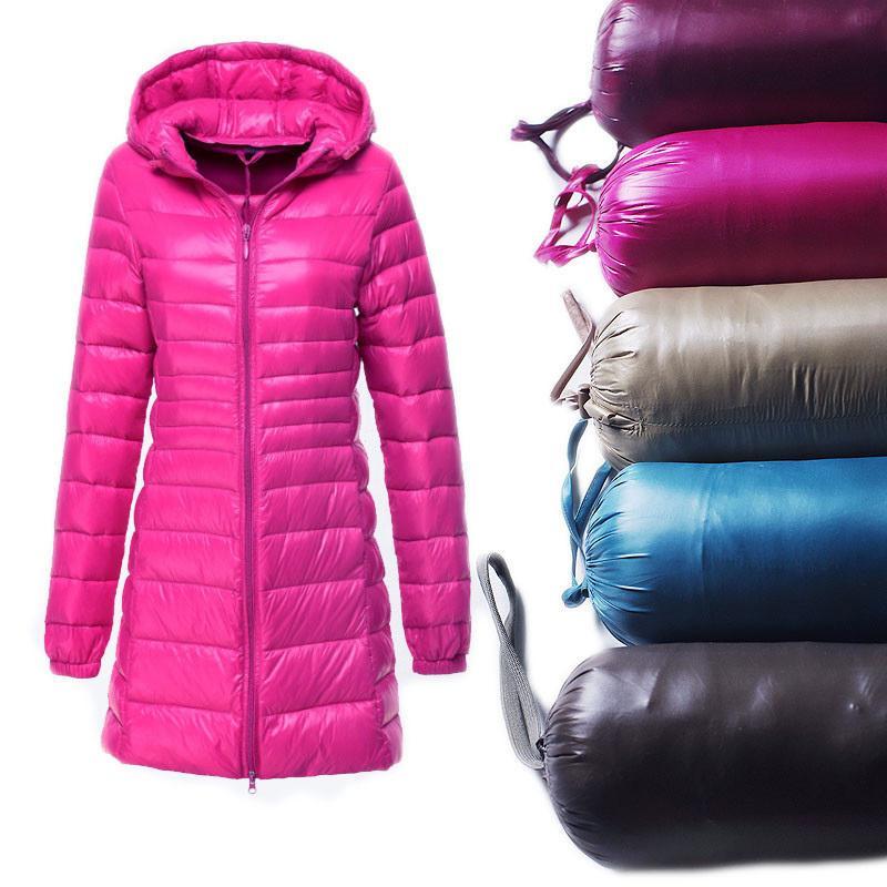 S ~ 6XL Nouveau automne hiver Femmes Down Downs Downs Veste Slim Parkas Manteau Longue Capuche Plus Taille Ultra Lumière Vêtements d'extérieur AB038