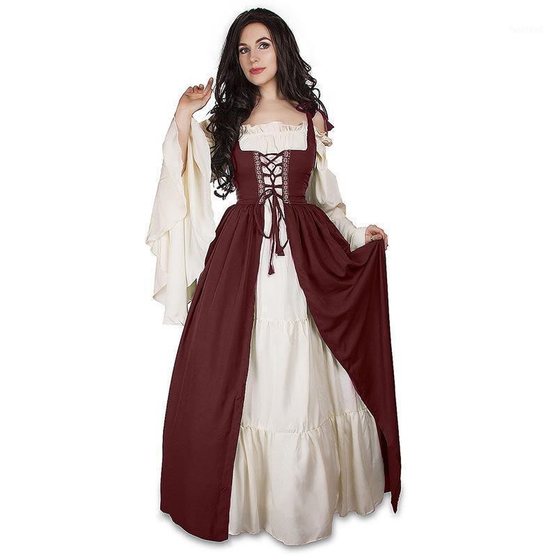 Halloween Fashion Oktoberfest Cerveza Cerveza Costum Costume Maid Wench Alemania Bávaro Talla grande 5XL Vestido medieval Disfraz Dirndl1