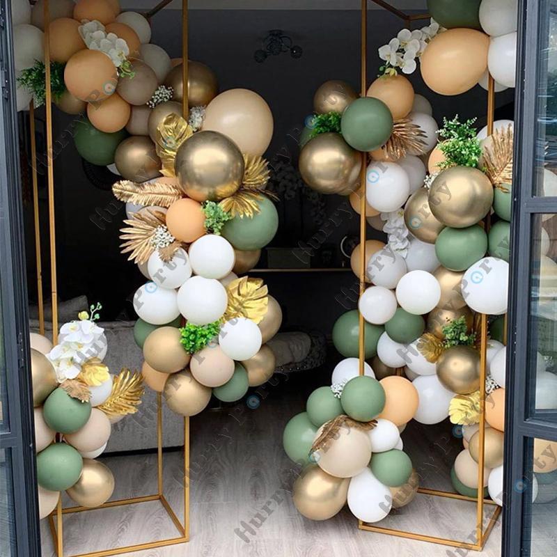 100Pcs Retro grüne Haut Balloons Garland Bogen Metall Gold Globos 1St Birthday Hochzeitstag-Partei-Dekorationen Baby Shower 1027