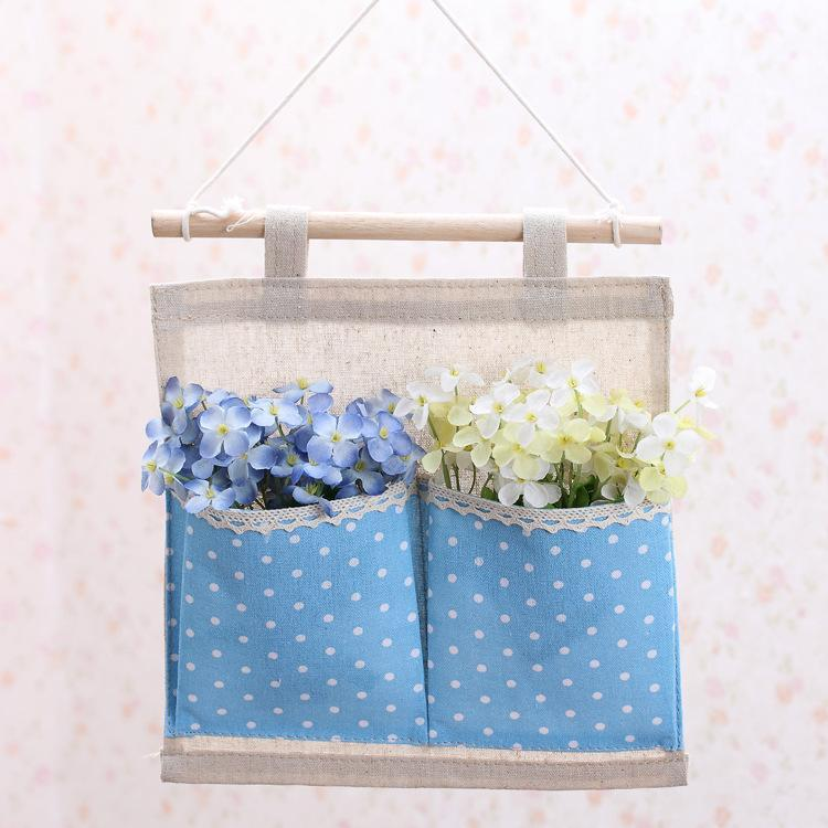 Storage Bags F100 Multilayered Wall Hanging Behind The Door Polka Dot Cotton Bag