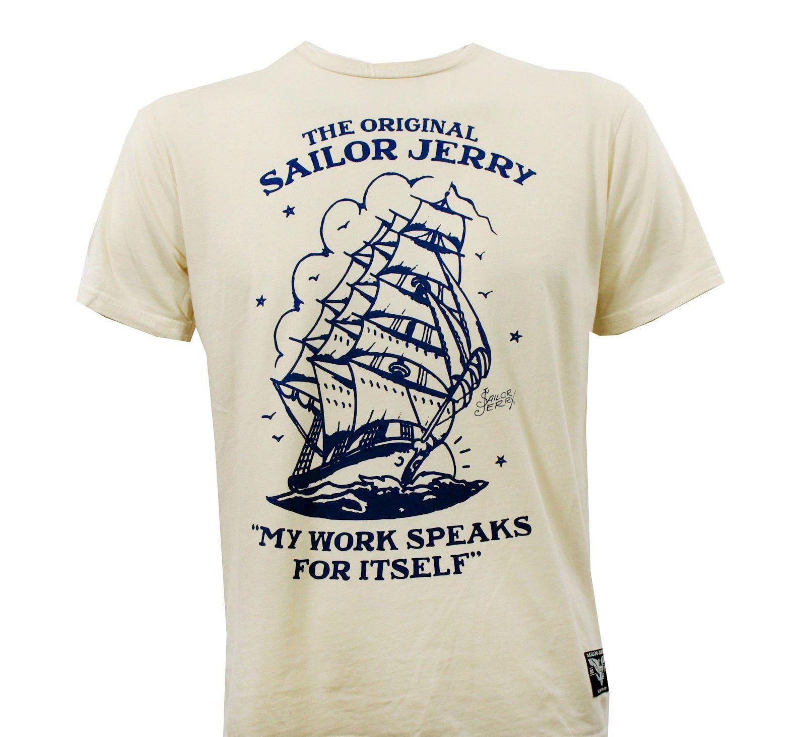 Sailor Jerry tatuagem Homeward Creme Slim Fit T Shirt S 2XL New Youth Rodada Collar personalizado Camiseta esporte moletom com capuz Hoodie