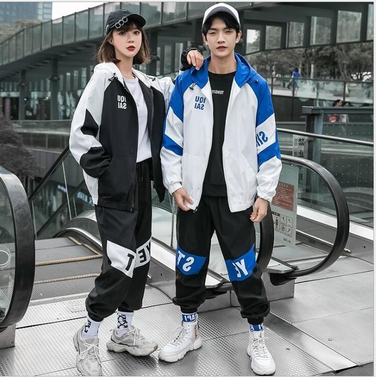 Autumn Fashion Beachsuit Colour Colour Colour Colors Giacca Zipper + Pantaloni stile coreano allentato Bel hip-hop Sport casual da 2 pezzi