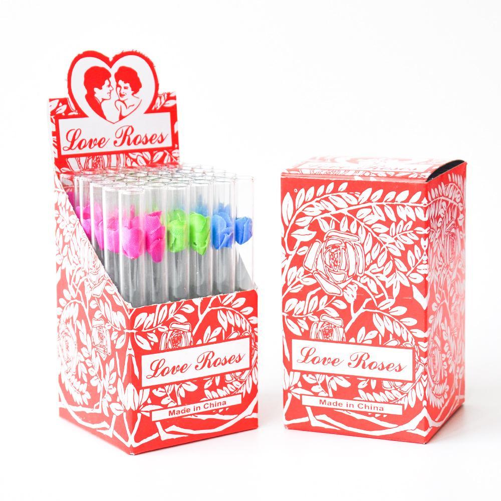 Cam Aşk Gül Cam Tüp Ile Plastik Çiçek Ile 36 ADET Bir Kutuda Aşk Gül Cam Boru Sigara Boru Tütün Borular